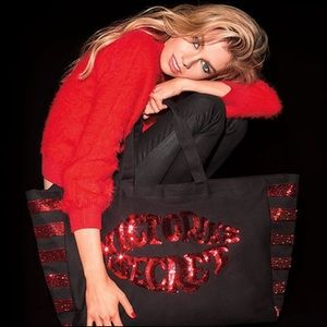 Victoria's Secret Huge Bling Sequin Lip Tote Red